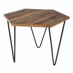 Table Basse Cor Guéridon Bout de Canapé Console d'Appoint Acier et Bois 39x56x56cm