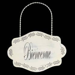 """Plaque Décorative Porte à Suspendre Ecriteau avec Inscription """"Bienvenue"""" en Fer Patiné Blanc 0,1x24x28cm"""