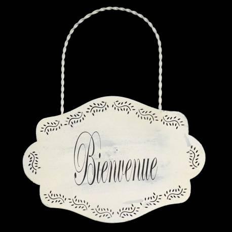 "Plaque Métal Blanc ""Bienvenue"""