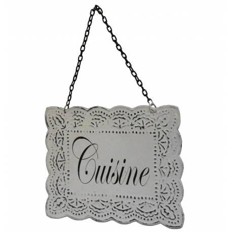 """Plaque Décorative Porte à Suspendre Ecriteau avec Inscription """"Cuisine"""" en Fer Patiné Blanc 0,1x16,5,24,5cm"""