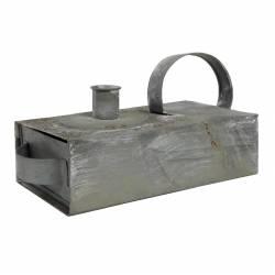 Boite Bougeoir à l'Ancienne ou Boite à Bougie Lumineuse Décorative en Fer Patiné Gris 10x10,5x20,5cm