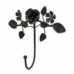 Patère Unique Porte Serviettes Murale ou Porte Torchons Motif Fleur en Fer Patiné Gris 6x16,5x17,5cm
