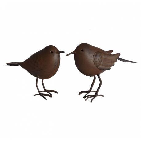 Duo d'Oiseaux ou Couple de Volatiles Oisillons à Poser en Fer Patiné Marron 4,5x11x14,5cm