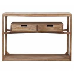 Console Sahara Table Design ou de Drapier Meuble d'Entrée à 2 Tiroirs en Manguier 30x76x110cm