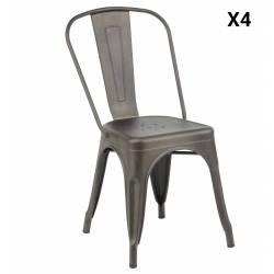 Lot de 4 Chaises Bistro Assise Industrielle Fauteuil de Table en Acier 45x53x85cm