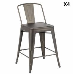 Lot de 4 Chaises de Bar Style Bistro Assise Haute Industrielle en Acier 51x53x90cm