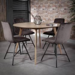 Table à Manger Ronde Table de Repas Hinsk Design Chêne Plaqué 76x120x120cm