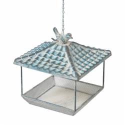 Bain à Oiseau Mural ou Bougeoir ou Porte Pot ou Plante avec Chainette en Fer Patiné Marron 15x22,5x36cm