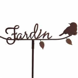 Tuteur Pic de Jardin Inscription Jardin Tige en Fer Patiné Rouille 6x55x119cm