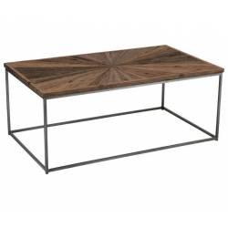 Table Basse Shanil Console de Salon J-Line en Acier et Bois 46x70x120cm