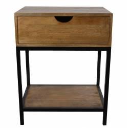 Console d'Appoint Table de Chevet ou de Nuit en Bois et Acier 35x48x62cm