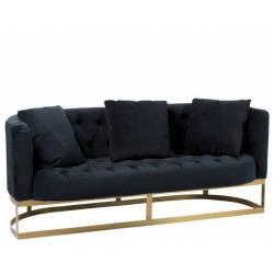 Canapé Wilson J-Line Assise Design Art Déco en Velours Noir 74x76x179cm