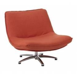 Fauteuil Lounge J-Line Assise Pivotable Design Art Déco en Tissu Orange 68x85x94cm
