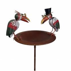 Bain a Oiseaux Abreuvoir Mangeoire Perchoir Vide Poche Porte Plante sur Pique en Fer Patiné Marron 15x22x86cm