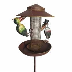 Mangeoire à Oiseaux Abreuvoir Nichoir sur Pic Mobile Corbeaux en Métal 23x30x132cm