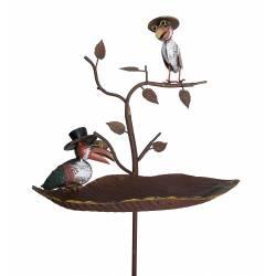 Bain à Oiseaux Abreuvoir Mangeoire Perchoir à Piquer Corbeaux en Métal 20x41x128cm