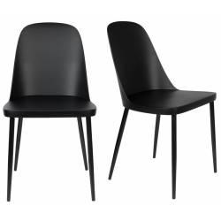 Lot de 2 Chaises Design Woody Chaise de Table PIP Noire 46x53,5x85cm