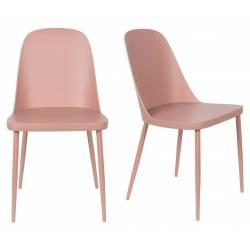 Lot de 2 Chaises Design Woody Chaise de Table PIP Rose 46x53,5x85cm