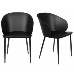 Lot de 2 Chaises Design Woody Fauteuils de Table GIGI Noire 53,5x57x81cm