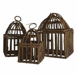 Set de 3 Maisons Volières à Poser ou Cages à Oiseaux Carrées à Suspendre en Rotin 20x20x29cm