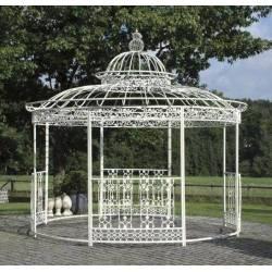 Grande Tonnelle Kiosque de Jardin Pergola Abris Rond en Fer Blanc 340x370x370cm