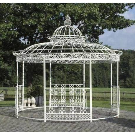 Grande Tonnelle Kiosque de Jardin Pergola Abris Rond Kiosque en Fer Forgé et Fonte Blanc 340x370x370cm