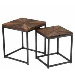 Set de 2 Tables Gigognes Shanil Bout de Canapé J-Line Guéridons en Acier et Bois 43,5x43,5x53,5cm
