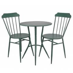 Salon de Jardin avec Sublime Mosaïque Antique Table de Bistrot et 2 Chaises Pliantes en Acier Noir et Motifs en Céramique bleue