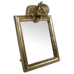 Miroir à Poser Singe Glace en Résine Dorée Objet de Curiosité 7x18x22,5cm
