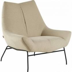 Fauteuil Ordoma Beige Siège de Salon Assise d'Appoint en Tissu 83x95x105cm