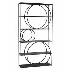Bibliothèque Cercle Hanjel Etagère à Poser Design en Métal Noir 33x105x200cm