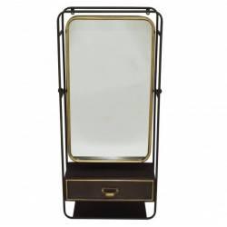 Miroir d'Entrée Hanjel Glace Murale avec Tiroir 18x49,5x100cm