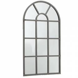 Grand Miroir d'Entrée Glace Style Orangerie en Fer Acier Gris 2x50x90cm