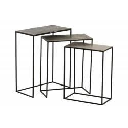 Set de 3 Tables Gigognes Rectangulaires J-Line Console Bout de Canapé en Métal et Fonte d'Aluminium