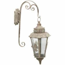 Lanterne Hexagonale Murale Luminaire Porte Bougie avec Crédence Intérieur ou Extérieur en Fer Gris 26x42x73cm