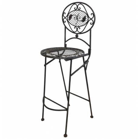 Chaise Haute Pliante Fauteuil de Bar Pliable ou pour Ilot Central en Fer Forgé Marron 67x72x115cm