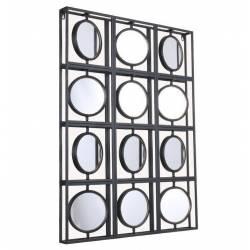 Miroirs Douzaine Marque Athezza Cadre Rectangle Multi-Glaces Rondes en Métal 5,5x66,5x110,5cm