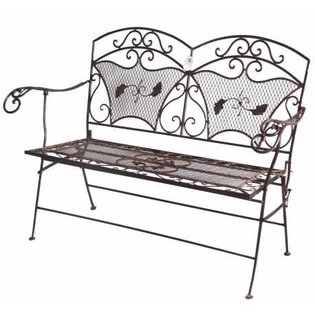 Banc banquette fauteuil de jardin exterieur 2 personnes pliable en fer marron - Fauteuil 2 personnes ...