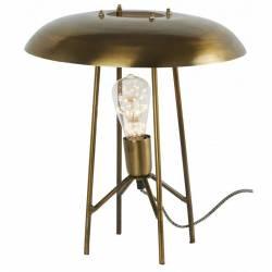 Lampe Rétro Brass Athezza Luminaire d'Ambiance de Table de Chevet en Métal Couleur Laiton 35x39x39cm