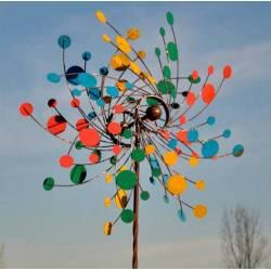 Majestueuse Eolienne Double Hélices Tuteur Mobile de Jardin en Acier Coloré 25x86x230cm