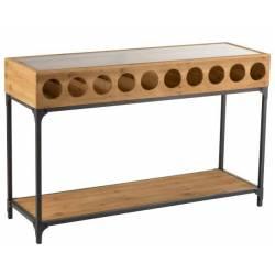 Console pour Bouteilles de Vin J-Line Comptoir Bar Vinothèque en Bois Naturel 38x76x120cm