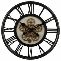 Grande Horloge Ronde Pendule Murale Vintage Industriel Style Usine en Métal Noir et Verre 7x54,5x54,5cm