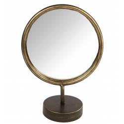Charmant Miroir Rond à Poser Psyché sur Pied en Métal Doré 10x20x27cm