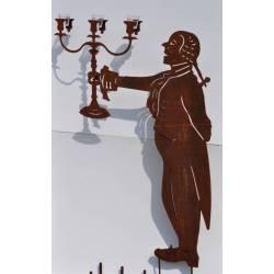 Silhouette Représentation d'Homme à Piquer avec Photophore en Acier Brut Oxydé 10x94x160cm