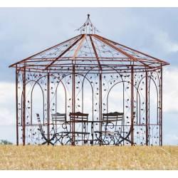 Prestigieuse Gloriette Kiosque Manège en Acier Burt Oxydé 320x360x360cm