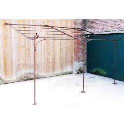 Véritable Pergola Abris de Terrasse Tonnelle de Jardin en Acier Brut Oxydé 300x310x385cm