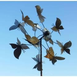 Eolienne Papillons Féérique sur Tige Moulin à Vent Décoration Animée de Jardin en Acier Oxydé 25x50x200cm