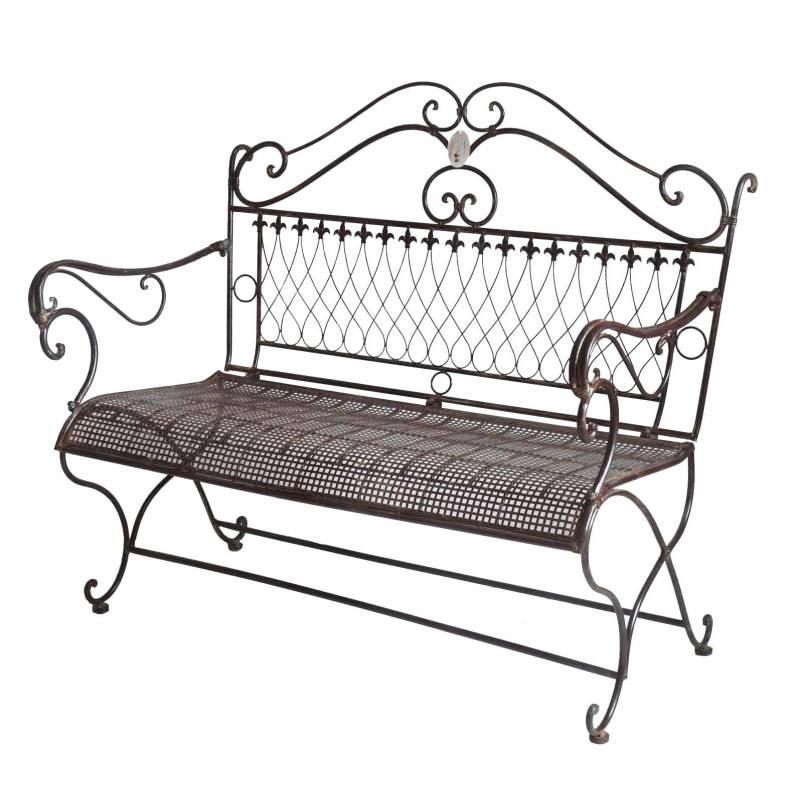 Banc de jardin banquette 2 places fauteuil assise exterieure en fer marron 64 - Banc de jardin 2 places ...