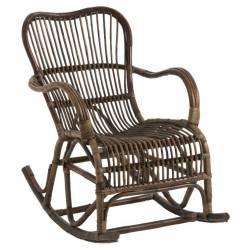 Rocking Chair J-Line Chaise à Bascule en Rotin Marron 56x86x95cm