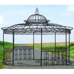 Majestueuse Tonnelle Kiosque de Jardin Pergola Abris Rond Kiosque en Fer Forgé et Fonte Marron 340x500x500cm